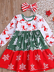 cheap -Toddler Girls' Rainbow Christmas Dress Red
