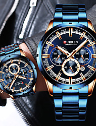 cheap -CURREN Men's Steel Band Watches Quartz Sporty Stylish Stainless Steel Black / Blue / Silver 30 m Water Resistant / Waterproof Calendar / date / day Chronograph Analog Casual Fashion - Black Blue