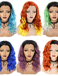cheap -Synthetic Lace Front Wig Ombre Curly Wavy Rihanna Style Free Part Lace Front Wig Light Blue Lake Blue Black / Purple Synthetic Hair 22inch Women's Cosplay Soft Synthetic Purple Ombre Wig Medium Length