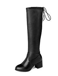 cheap -Women's Boots Chunky Heel Round Toe PU Knee High Boots Casual / British Fall & Winter Black / White