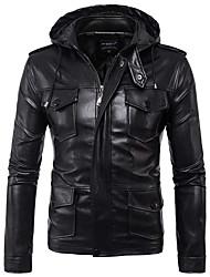 abordables -Homme Quotidien Basique Automne hiver Normal Veste de cuir, Couleur Pleine Capuche Manches Longues Polyester Noir