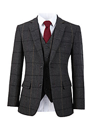 cheap -Gray wide herringbone tweed wool custom suit