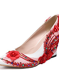 cheap -Women's Wedding Shoes Wedge Heel Pointed Toe Rhinestone PU Fall & Winter White / Red / Light Pink / Party & Evening