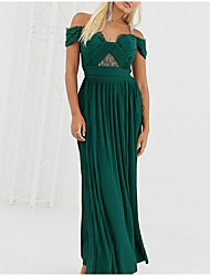 cheap -A-Line Open Back Prom Formal Evening Dress Off Shoulder Short Sleeve Ankle Length Chiffon with Pleats 2020
