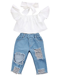 cheap -Baby Girls' Casual / Active White / Blue Solid Colored Pleated / Ripped Sleeveless Long Clothing Set Blue