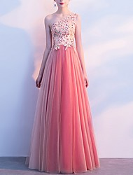 cheap -A-Line Elegant Prom Formal Evening Dress One Shoulder Sleeveless Floor Length Tulle with Beading Appliques 2020
