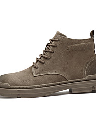 cheap -Men's Combat Boots Pigskin Fall & Winter Casual / British Boots Walking Shoes Warm Booties / Ankle Boots Brown / Gray