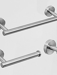 cheap -Bathroom Stainless Steel Towel Rack Three Piece Suit Bathroom Hanging Hook Towel Bar Paper Towel Rack Combination