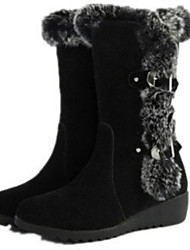 cheap -Women's Boots Snow Boots Flat Heel Round Toe Suede Booties / Ankle Boots Fall & Winter Black / Brown