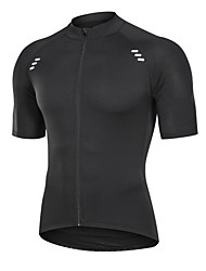 cheap -21Grams Men's Short Sleeve Cycling Jersey Black Solid Color Bike Jersey Top Mountain Bike MTB Road Bike Cycling Quick Dry Breathable Sports Clothing Apparel / Advanced / Expert / Stretchy / Triathlon