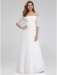 cheap -A-Line Elegant Formal Evening Dress Off Shoulder Half Sleeve Floor Length Lace with Ruffles 2020
