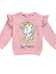 cheap -Kids Girls' Street chic Punk & Gothic Unicorn Print Solid Colored Ruffle Patchwork Print Long Sleeve Hoodie & Sweatshirt Blushing Pink