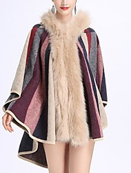 cheap -Sleeveless Coats / Jackets / Capes Faux Fur / Knit / Fox Fur Wedding / Party / Evening Women's Wrap With Cap / Fur / Stripe