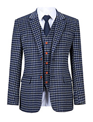 cheap -Blue gray check tweed wool custom suit