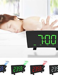 cheap -Digital Projector Radio Alarm Clock Snooze Timer LED Display Wide Curved Screen USB Charge 180 Degree Table Wall FM Radio Clock