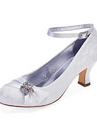 cheap -Women's Wedding Shoes Cuban Heel Round Toe Rhinestone / Satin Flower / Sparkling Glitter Lace / Satin Classic / Vintage Spring & Summer / Fall & Winter White / Ivory / Party & Evening