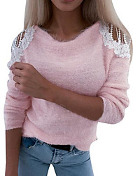 cheap -Women's Color Block Pullover Long Sleeve Sweater Cardigans Round Blushing Pink Gray