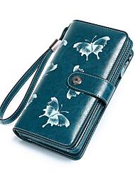 cheap -Women's Bags Cowhide Wallet Wristlet Bag Pattern / Print Daily Office & Career Black Blue Blushing Pink
