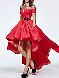 cheap -A-Line Jewel Neck Asymmetrical Satin Elegant Prom / Formal Evening Dress with Bow(s) 2020