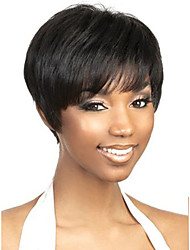 cheap -Human Hair Capless Wigs Human Hair Straight / Natural Straight Bob / Pixie Cut / Layered Haircut / Asymmetrical Style Cool / Comfortable / Natural Hairline Black / White Short Capless Wig Women's