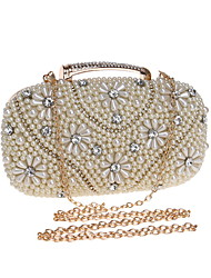 cheap -Women's Bags Polyester Alloy Evening Bag Pearls Crystals Floral Print Wedding Bags Wedding Party Event / Party Black Gold Silver