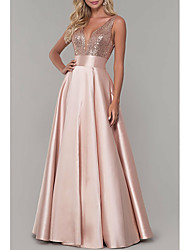 cheap -A-Line Sparkle Prom Formal Evening Dress V Neck Sleeveless Floor Length Satin with Pleats Sequin 2021