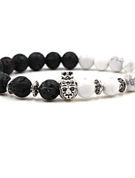 cheap -Men's Coffee Brown White AAA Cubic Zirconia Bead Bracelet Vintage Style Cathedral Ball Chakra Cheap Boho equilibrio Stone Bracelet Jewelry Brown / White / Dark Red For Wedding Ceremony