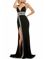cheap -A-Line Color Block Formal Evening Dress Spaghetti Strap Sleeveless Sweep / Brush Train Chiffon with Crystals Split Front 2021