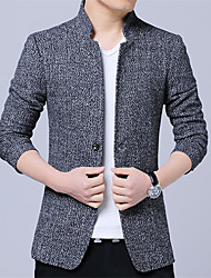 cheap -Men's Daily Street chic Spring / Fall Plus Size Regular Blazer, Solid Colored Stand Long Sleeve Cotton / Acrylic / Polyester Wine / Gray / Khaki / Business Casual / Slim