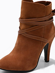 cheap -Women's Boots Stiletto Heel Pointed Toe PU Booties / Ankle Boots Fall & Winter Black / Almond / Yellow