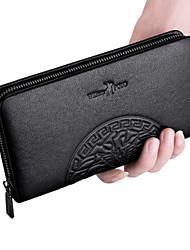 cheap -Men's Zipper Cowhide Wallet Solid Color Black / Black Grey