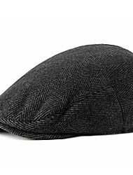cheap -Men's Basic Polyester Beret Hat-Striped Fall Black Brown Gray