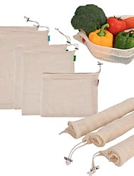 cheap -1pcs Reusable Cotton Vegetable Bags Home Kitchen Fruit And Vegetable Storage Mesh Bags With Drawstring Machine Washable