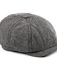cheap -Men's Basic Polyester Beret Hat-Striped Fall Black White Brown