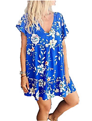cheap -Women's Blue Dress Elegant Street chic Dress Going out T Shirt Floral Deep V Rose Ruched L XL Loose
