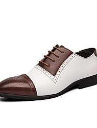 cheap -Men's Leather Fall / Spring & Summer Casual / British Oxfords Breathable Color Block Blue / White / Black / Party & Evening