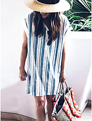 cheap -Women's T Shirt Dress - Striped Blue S M L XL