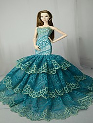 cheap -Doll accessories Doll Clothes Doll Dress Wedding Dress Party / Evening Wedding Ball Gown Tulle Lace Polyester Polyurethane Leather For 11.5 Inch Doll Handmade Toy for Girl's Birthday Gifts  Doll Not