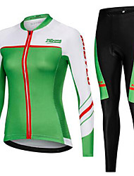 cheap -21Grams Women's Long Sleeve Cycling Jersey with Tights Winter Fleece Green Sugar Skull Skull Bike Clothing Suit Ultraviolet Resistant Quick Dry Breathable Back Pocket Sports Sugar Skull Mountain Bike
