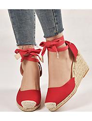 cheap -Women's Heels Wedge Heel Pointed Toe Suede Sweet / Minimalism Spring &  Fall / Spring & Summer Black / Red / Beige