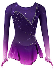 cheap -Figure Skating Dress Women's Girls' Ice Skating Dress Black White Purple Spandex Mesh High Elasticity Competition Skating Wear Breathable Handmade Novelty Fashion Dumb Light Long Sleeve Ice Skating