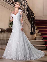 cheap -Mermaid / Trumpet V Neck Chapel Train Lace / Tulle / Lace Over Satin Long Sleeve Vintage See-Through Made-To-Measure Wedding Dresses with Beading 2020 / Bell Sleeve