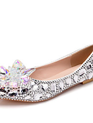 cheap -Women's Wedding Shoes Flat Heel Pointed Toe Rhinestone / Crystal Synthetics Fall & Winter Silver / Rainbow / Party & Evening