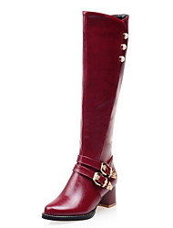cheap -Women's Boots Chunky Heel Round Toe PU Mid-Calf Boots Fall & Winter Black / Dark Brown / Red