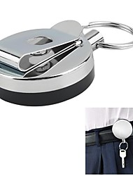 cheap -2PCS Keychain Metal Easy Pull Buckle High Elastic Retractable Steel Wire Rope Key Ring Anti-Loss Anti-Theft Telescopic Key Ring