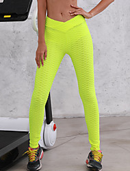 abordables -Femme Taille haute Pantalon de yoga Jacquard Ruched Butt Lifting Noir Blanche Jaune Fushia Gris Spandex Course / Running Fitness Entraînement de gym Collants Leggings Sport Tenues de Sport Push Up