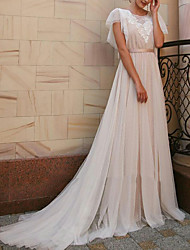 cheap -A-Line Jewel Neck Sweep / Brush Train Tulle Made-To-Measure Wedding Dresses with Sashes / Ribbons by LAN TING Express