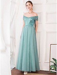 cheap -A-Line Off Shoulder Floor Length Satin / Tulle Elegant Prom / Formal Evening Dress 2020 with Beading