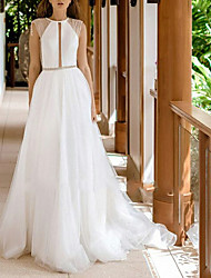 cheap -A-Line Jewel Neck Sweep / Brush Train Tulle Made-To-Measure Wedding Dresses with Beading by LAN TING Express