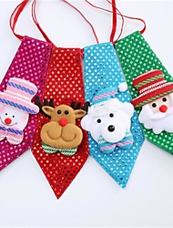 cheap -Christmas Sequin Bow Tie Child Cute Luminescent Gifts Santa Claus Reindeer Snowman Cartoon Image Creative Decoration Accessories